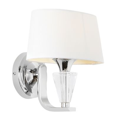 Fiennes Chrome and Crystal Wall Light with a White Cotton Shade - ENDON FIENNES-1WBNI